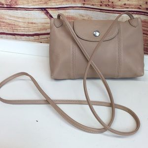 Longchamp Beige Leather Le Pliage Cuir Crossbody